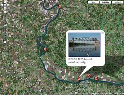 GPS Photo Log from the Missouri River 340 Race using Google